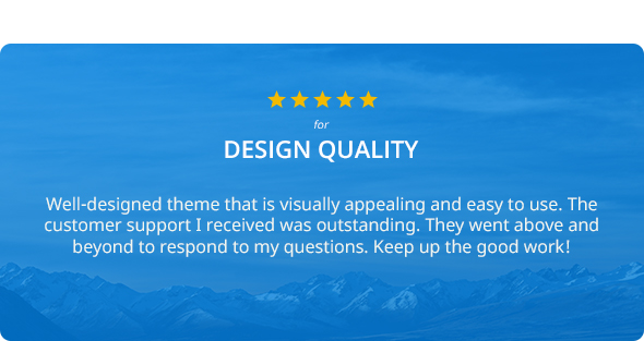 Five Star Review for Design Quality