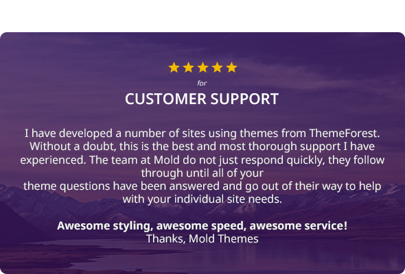 Five Star Rating for support